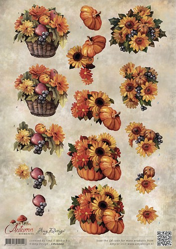 Amy Design - 3D Knipvel - Autumn Moments - Herfstbloemen