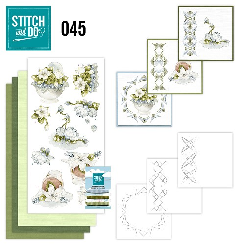 Card Deco - Stitch and Do - Borduurset 45 - Winterflowers