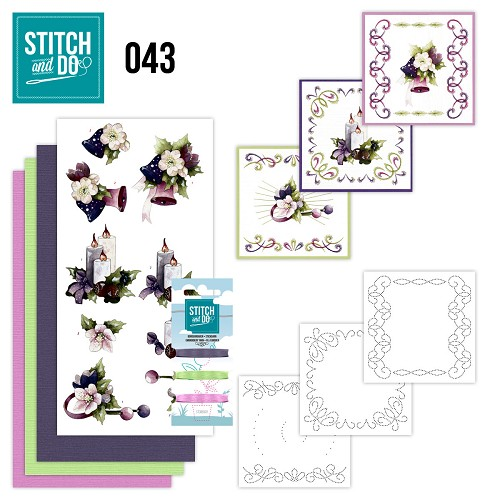 Card Deco - Stitch and Do - Borduurset 43 - Purple Colored Christmas