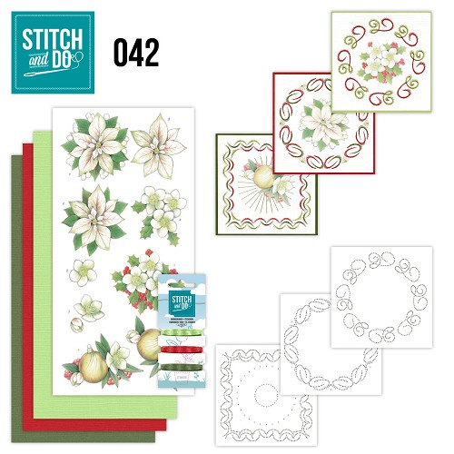 Card Deco - Stitch and Do - Borduurset 42 - White Christmas Flowers