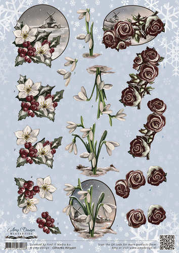 Amy Design - 3D Knipvel - Wintertide - Flowers