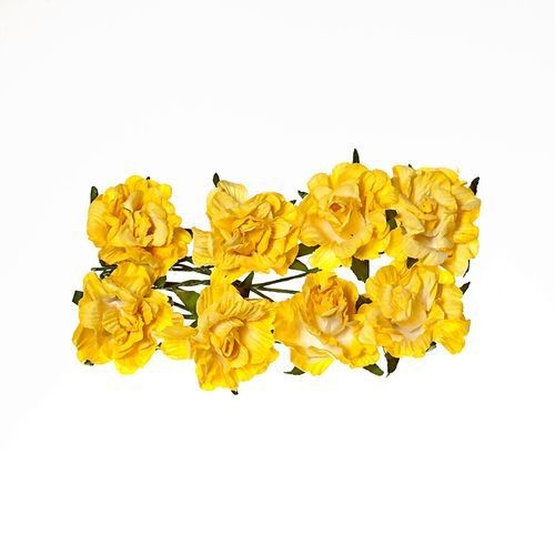 ScrapBerry`s - Paper Flowers - Curly Rose - Light Yellow