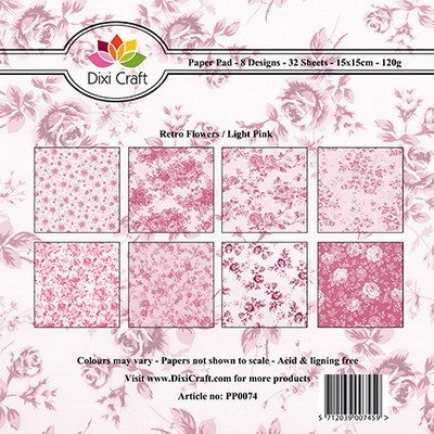 Dixi Craft - Paperpack - Retro flowers pink