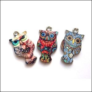 Hobby & Crafting Fun - Metal charms owls (3)