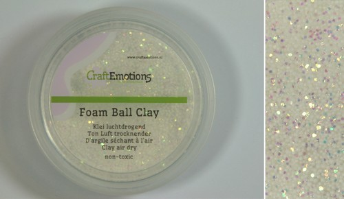 CraftEmotions - Foam Ball Clay - wit glitter