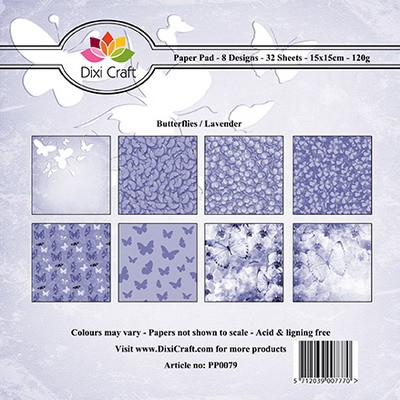 Dixi Craft - Paperpack - Butterfly background -lila
