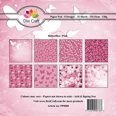 Dixi Craft - Paperpack - Butterfly background - Pink