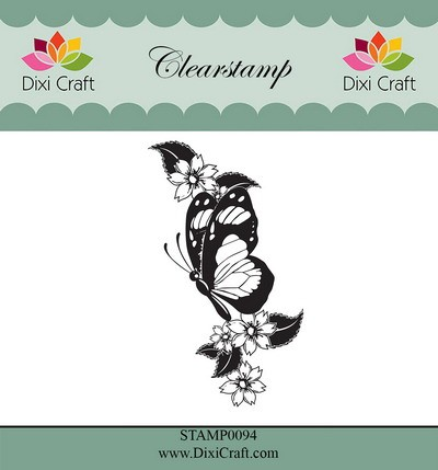 Dixi Craft - Clearstamp - Butterfly & flowers