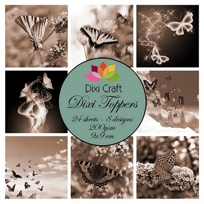 Dixi Craft - Toppers - set Butterflies sepia