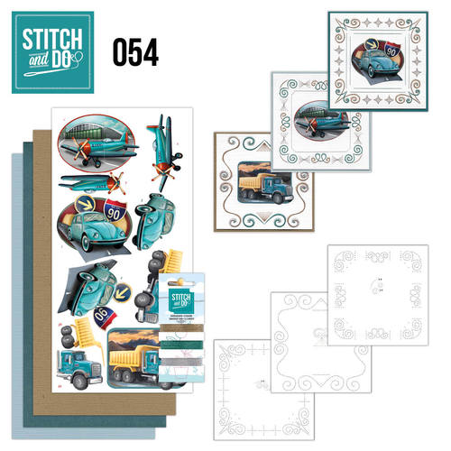 Card Deco - Stitch and Do - Borduurset 54 - Vintage Vehicles