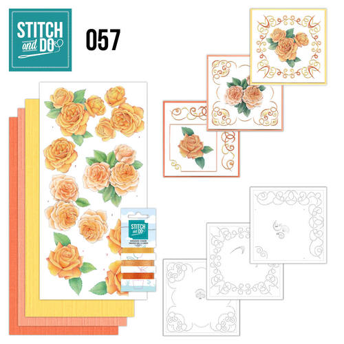 Card Deco - Stitch and Do - Borduurset 57 - Oranje rozen