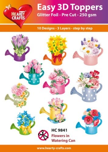 Hearty Crafts - Easy 3D Toppers - Flowers in Watering Can