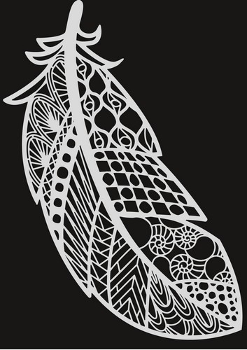 Pronty - Mask stencil - Feather Zentangle