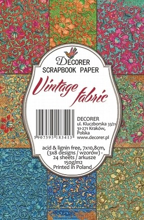 Decorer - Scrapbook Paper Mini - Vintage Fabric