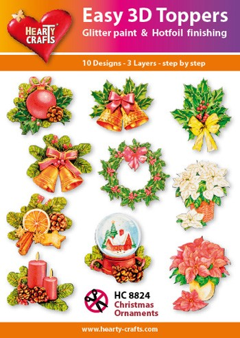 Hearty Crafts - Easy 3D Toppers - Christmas Ornaments