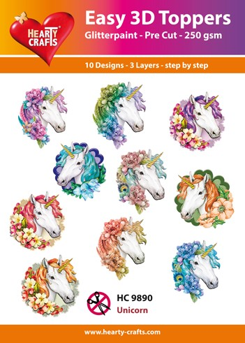 Hearty Crafts - Easy 3D Toppers - Unicorn