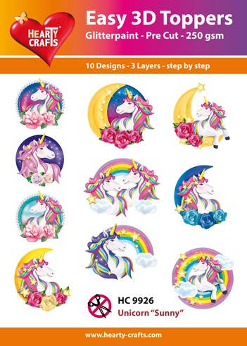 Hearty Crafts - Easy 3D Toppers - Unicorn ``Sunny``