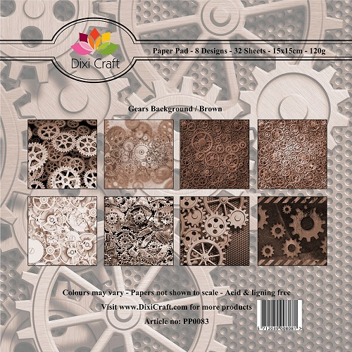 Dixi Craft - Paperpack - Gears background brown