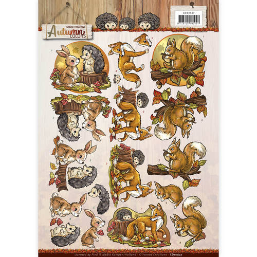Yvonne Creations - 3D Knipvel - Autumn Colors - Autumn Animals
