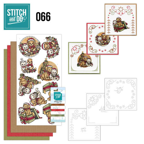 Card Deco - Stitch and Do - Borduurset 66 - Christmas Animals