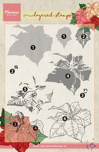 Marianne Design - Clear Stamp - Tiny`s Poinsettia (Layering)