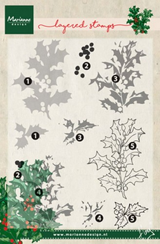 Marianne Design - Clear Stamp - Tiny`s Holly (Layering)