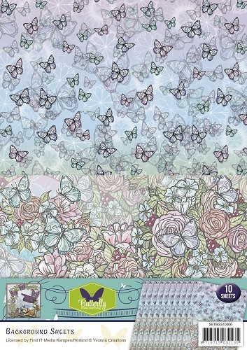 Yvonne Creations - Background sheets - Butterfly collection