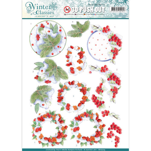 Jeanines Art - Push Out - Winter Classics - Winterberries