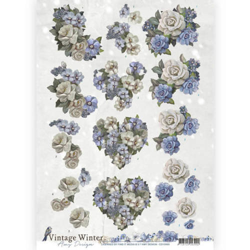 Amy Design - 3D knipvel - Vintage winter - Winter Flowers