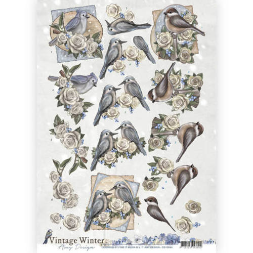 Amy Design - 3D knipvel - Vintage winter - Winterbirds