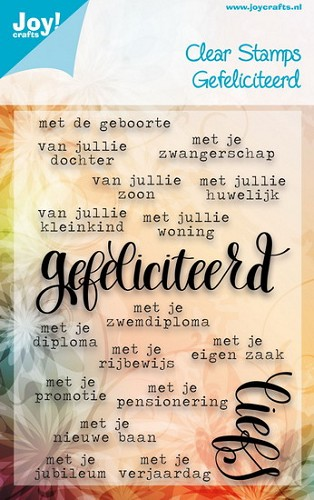 Joy!Crafts - Clearstamp - Teksten - Gefeliciteerd