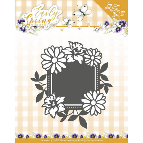 Precious Marieke - Die - Early Spring - Spring Flowers Square label