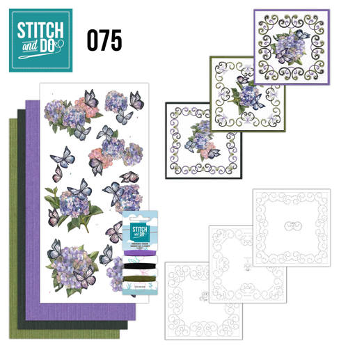 Card Deco - Stitch and Do - Borduurset 75  Amy Design - Hortensia