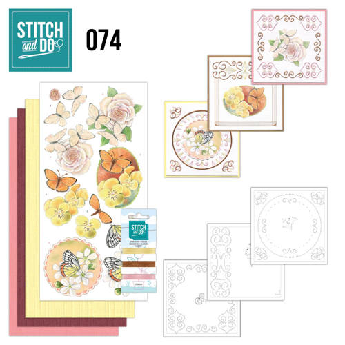 Card Deco - Stitch and Do - Borduurset 74 Vlinders en Bloemen