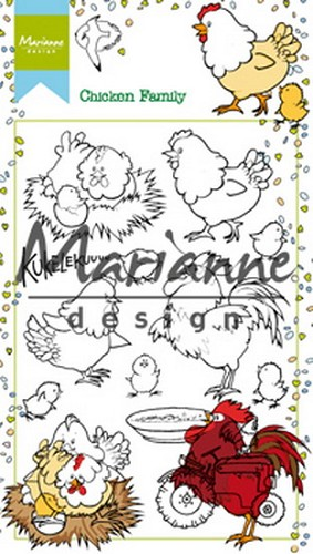 Marianne Design - Clearstamp - Hetty`s chicken family