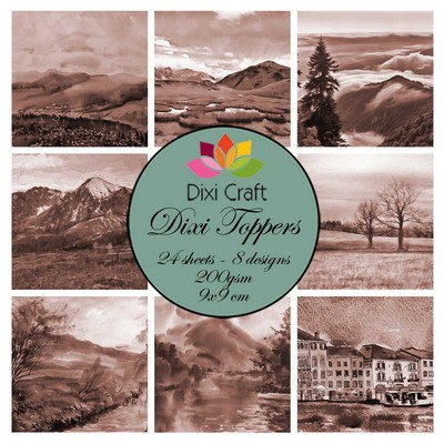Dixi Craft - Toppers - Landscape - Sepia