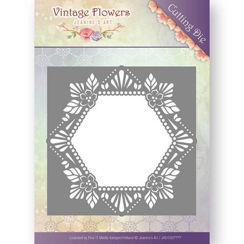 Jeanines Art - Die - Vintage Flowers - Floral Hexagon