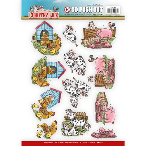 Yvonne Creations - Push Out - Country Life - Farm Animals
