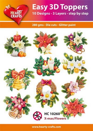 Hearty Crafts - Easy 3D Toppers - Christmas Flowers