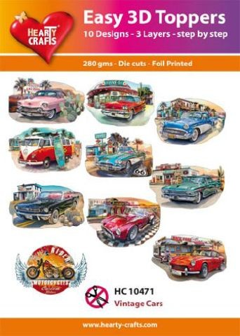 Hearty Crafts - Easy 3D Toppers - Vintage Cars
