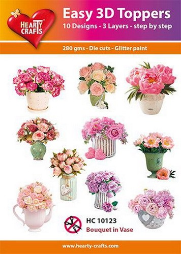Hearty Crafts - Easy 3D Toppers - Flower Bouquet in Vase
