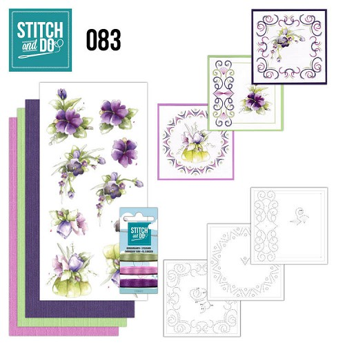 Card Deco - Stitch and Do - Borduurset 83 - Purple Flowers