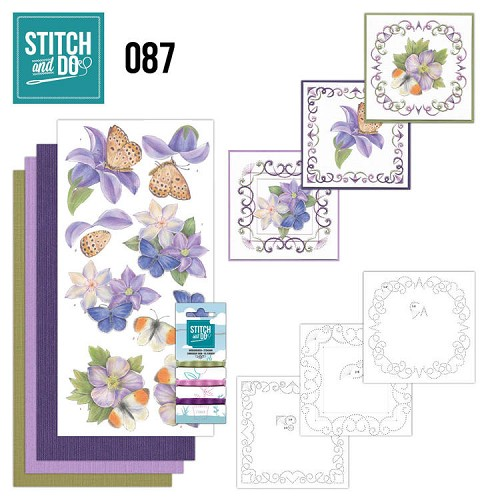 Card Deco - Stitch and Do - Borduurset 87 - Purple Flowers