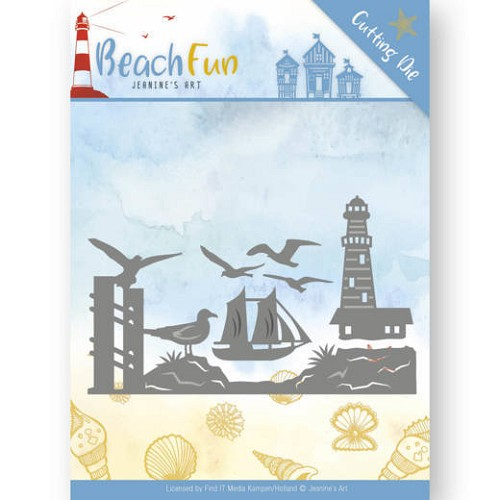 Jeanines Art - Die - Beach Fun - Lighthouse Border