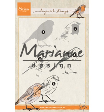 Marianne Design - ClearStamp - Tiny`s Layered Red Robin