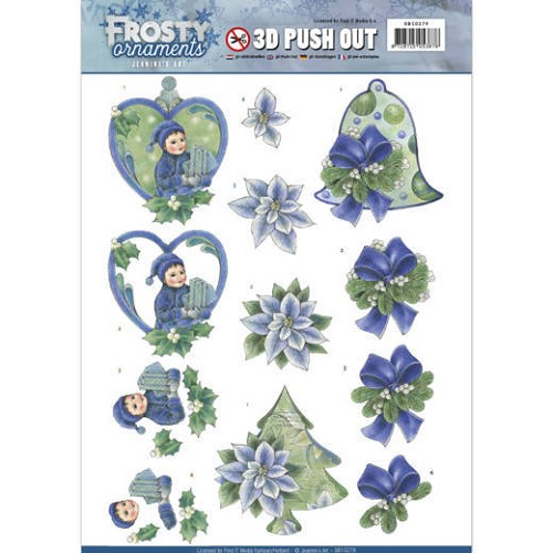 Jeanines Art - 3D Push Out - Frosty Ornaments - Green Ornaments