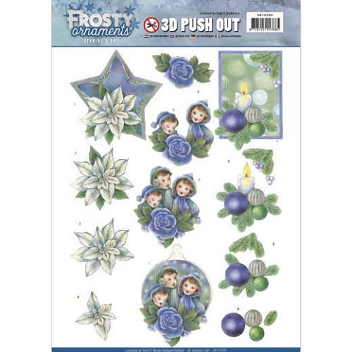 Jeanines Art - 3D Push Out - Frosty Ornaments - Blue Ornaments