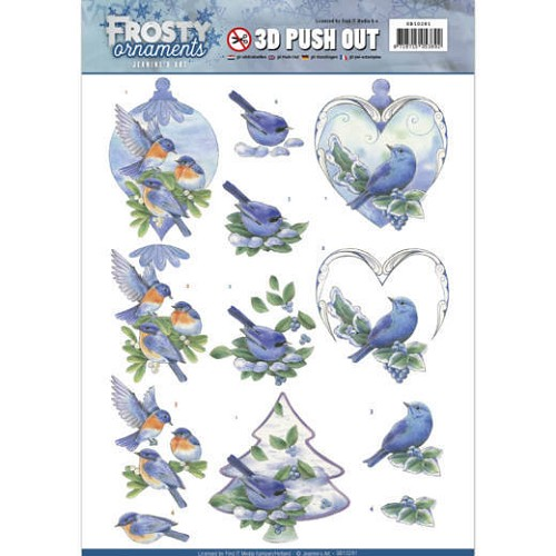 Jeanines Art - 3D Push Out - Frosty Ornaments - Blue Birds