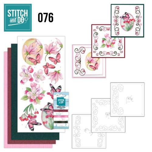 Card Deco - Stitch and Do - Borduurset  76 - Pink Flowers