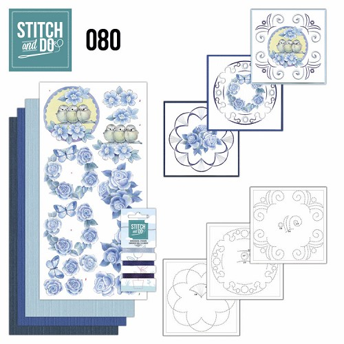 Card Deco - Stitch and Do - Borduurset  80 - Vintage Bloemen